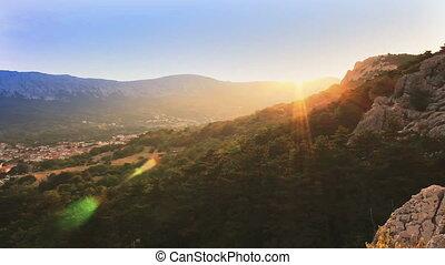 Time lapse sunset in mountain, Croatia