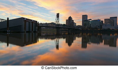 Time Lapse Sunset in Portland OR - Time Lapse Movie of...