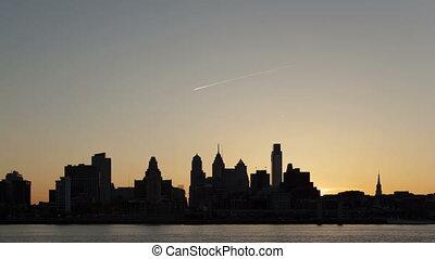 Time lapse Sunset Philadelphia Sky