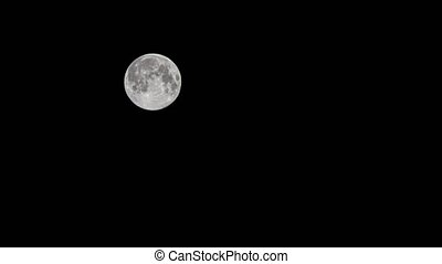 Time lapse: the moon floating in night black sky 4K