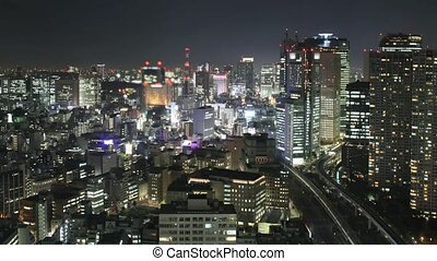 Time lapse Tokyo skyline at night. All trademarks and sign...