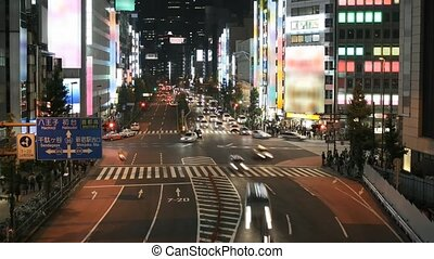 Time lapse Tokyo street scene at night. All trademarks and...