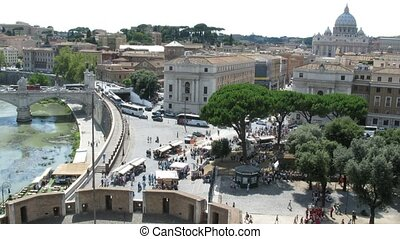 top down view on square near beautiful Sant'Angelo Castel in...