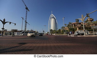 time lapse traffic Burj Al Arap - city traffic with Burj Al...
