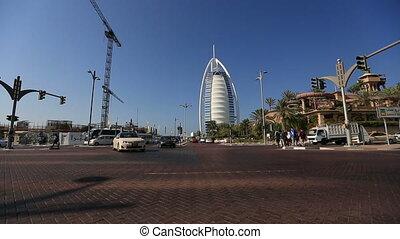 time lapse traffic Burj Al Arap - city traffic with Burj Al...