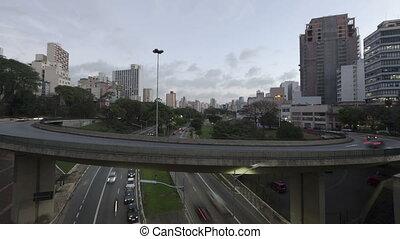 Time lapse Traffic Sao Paulo - Time lapse Traffic on Avenue...