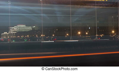 Time lapse video of night city traffic