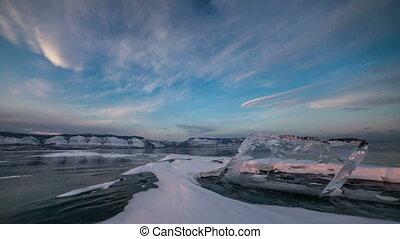 Time lapse video on frozen lake - Time lapse on frozen...