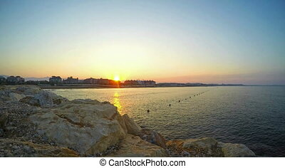 Time lapse video, sunrise on mediterranean summer resort in...
