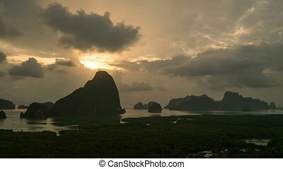 Time lapse view at Halong Bay, North Vietnam. World heritage...