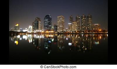 Time lapse view of Bangkok Urban Reflection