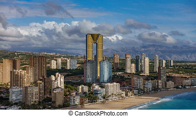 Time lapse view of Benidorm skyscrapers, high buildings,...