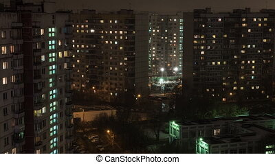 Time lapse view of sleeping buildings and complexes with yard and road, Moscow, Russia