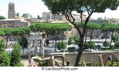 view on ancient villa district called Domus area in Rome -...