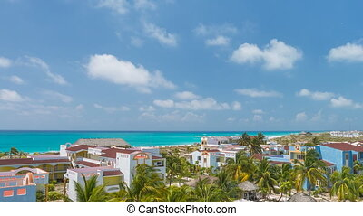 Time lapse View on hotel and swimming pool. Cayo Largo, Cuba