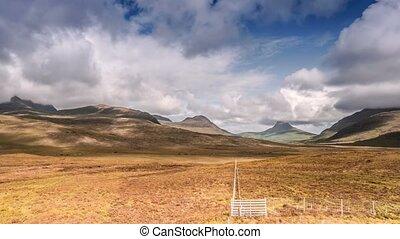 Time Lapse, View On Mountainranger On The Coigach Peninsula,...