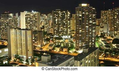 Waikiki - Time lapse Waikiki hotels and condos at night,...