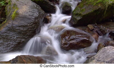 time lapse water flow cascade