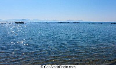 Time lapse: water of  Corfu beach