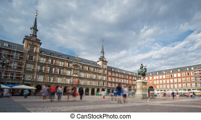 Time Lapse with blurred tourists in Plaza Mayor, Madrid , Spain