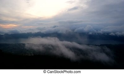 time lapse with view from Batur volcano mountain in Bali