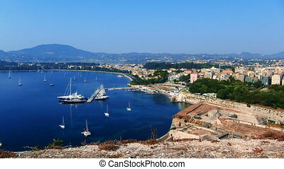 Time lapse: yacht marine, Corfu - Time lapse: aerial view of...