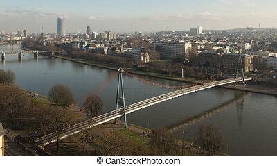 Time lapse zoom aerial Frankfurt