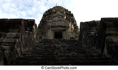 Angkor Wat  - Time Lapse zoom in of Angkor Wat tower door.