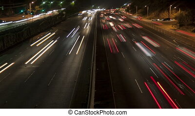Time lapse zoom out freeway light