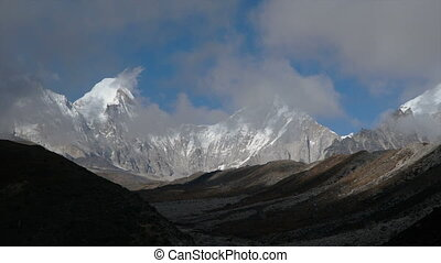 Movement of clouds against the background of the Himalayan mountains