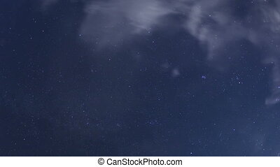 Time lapse zoom out night sky stars