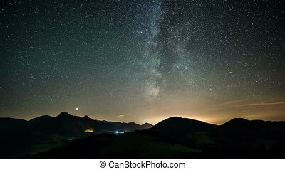 Time laspe milky way and stars over mountains landscape