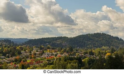 Time laspe of clouds over residential houses in Happy Valley OR Fall Season 4k