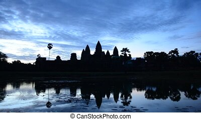 angkor wat - time laspe of sunrise over angkor wat