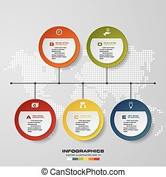time line description. 5 steps timeline infographic...
