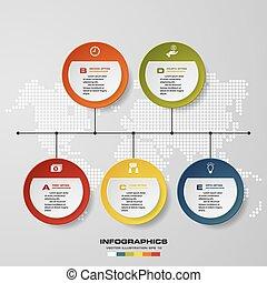 time line description. 5 steps timeline infographic background for business design.