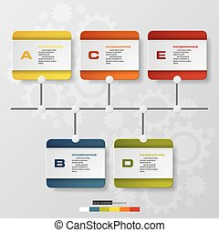 time line description. 5 steps timeline infographic with...