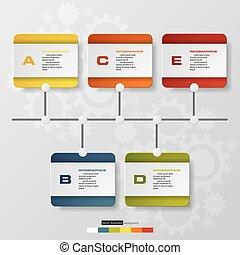 time line description. 5 steps timeline infographic with global map background for business design.