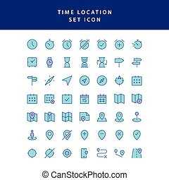 time location filled outline icon set