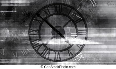 Time looping abstract grunge background in black and white -...