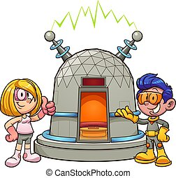 Time Machine - Cartoon girl and boy with time machine. ...