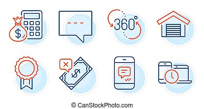 Time management, 360 degree and Finance calculator icons set. Reward, Rejected payment and Blog signs. Vector