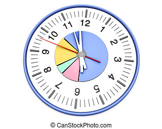Time management - A pie graph in a clock. 3D rendered...