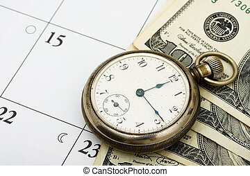 A pocket watch with hundred dollar bills sitting on a calendar background, time management