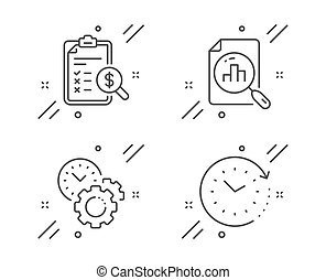 Time management, Analytics graph and Accounting report icons...