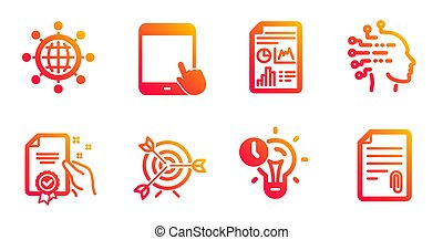 Time management, Artificial intelligence and Certificate icons set. Vector