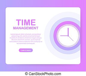 Time management banner with character and text place. Can use for web banner, infographics, hero images. Vector illustration.