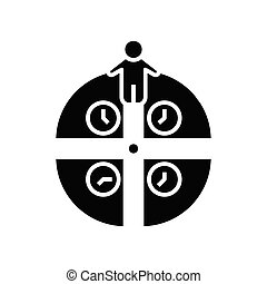 Time management black icon, concept illustration, vector flat symbol, glyph sign.