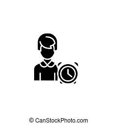 Time management black icon concept. Time management flat vector symbol, sign, illustration.