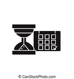 Time management black vector concept icon. Time management flat illustration, sign